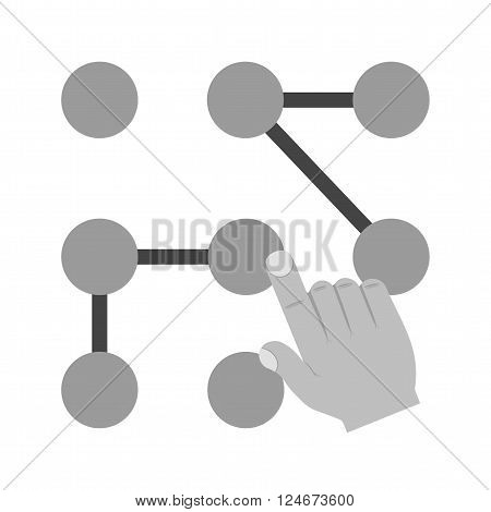 Pattern, mobile, unlock icon vector image.Can also be used for user touch gestures. Suitable for mobile apps, web apps and print media.