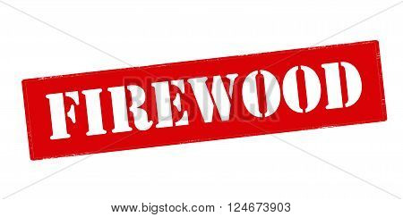 Rubber stamp with word firewood inside vector illustration`
