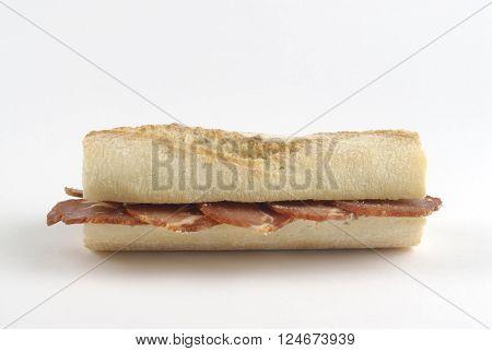 Sandwich of Pork Loin on white background