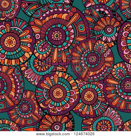 Abstract bright vector tribal ethnic seamless pattern