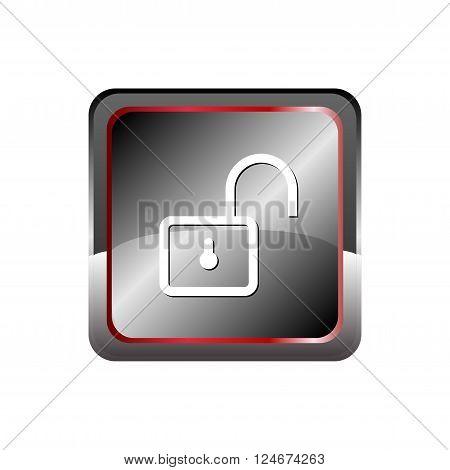 Unlock icon button vector with Rectangular  vector design template