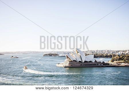 Sydney Australia - May 13 2015: Sydney Opera House with early morning sunlight