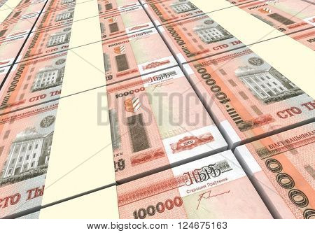 Belarusian rubles bills stacks background. 3D illustration.