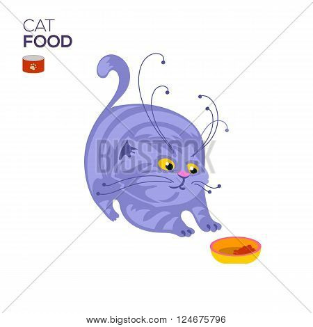 Cat with a bowl of dry cat food and looking in to it. Isolated on white background. Pet food advertising banner. Cartoon animal character. Cat food bowl