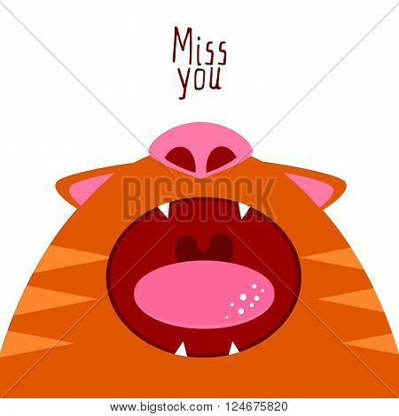 Flat style cat illustration say Miss you. Open cat mouth. Missing cat funny character. Romans card