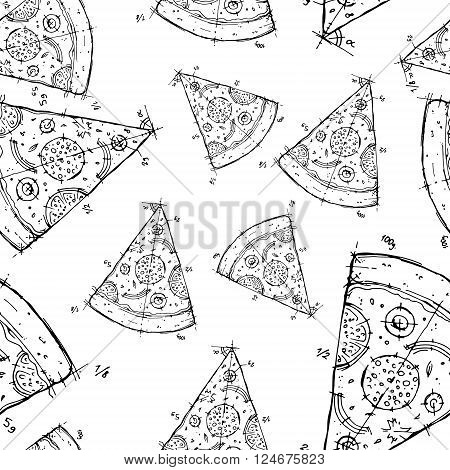 Hand drawn seamless background pattern. Black and white vector stock illustration
