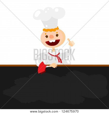 Blackboard menu and Chef character. Handsome young chief cook holding blackboard for restaurant menu.