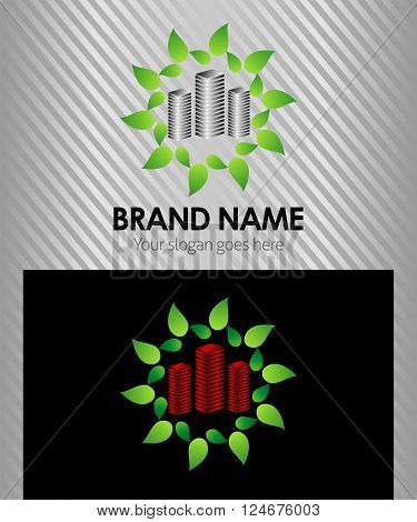 Vector eco green city sign building corporate logo