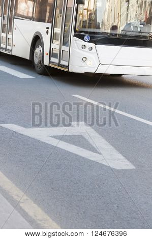 the bus going on the allocated strip in the city