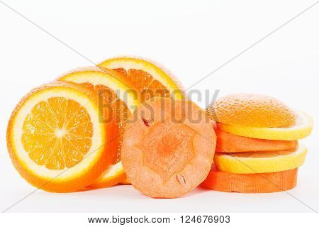 Slices Of Orange With Slices Of Carrot
