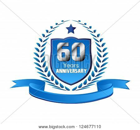 Vintage 60 years anniversary message emblem vector