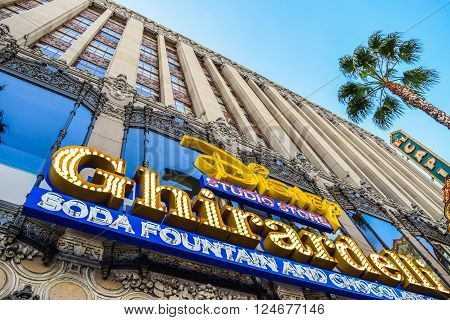 Hollywood Blvd,Los Angeles, California 01.16.2016: Building Facade Ghirardelli Soda Fountain and Chocolate Shop disney Hollywood Blvd,Los Angeles, Ca
