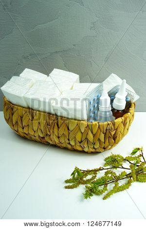 Allergy relief concept seasonal allergens - birsh pollen medication and paper tissues copy space