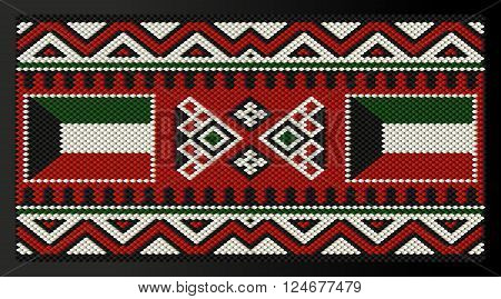 Kuwait Flag Quilted On A Traditional Arabian Decorative Rug