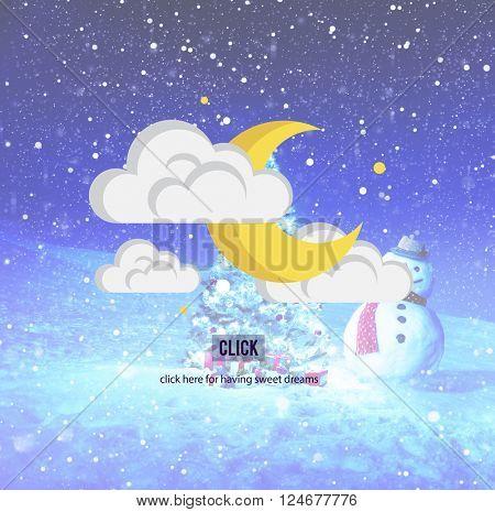 Moon Night Stars Clouds Sleep Concept
