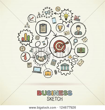Business hand drawing integrated sketch icons. Vector doodle marketing pictogram set. Connected concept illustration on paper. finance, money, presentation, strategy, marketing, analytics, infographic