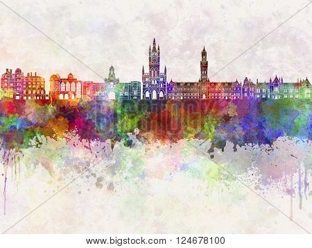 Bradford skyline in watercolor background abstract paint