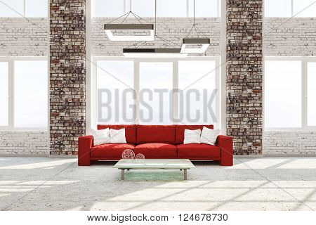 Interior Of Living Room With Red Sofa 3D Rendering
