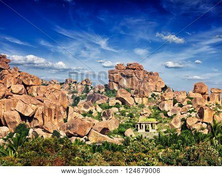 Ancient ruins of Hampi. Karnataka, India