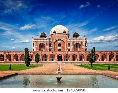 Humayun's Tomb. Delhi, India. UNESCO World Heritage Site. Frontal View