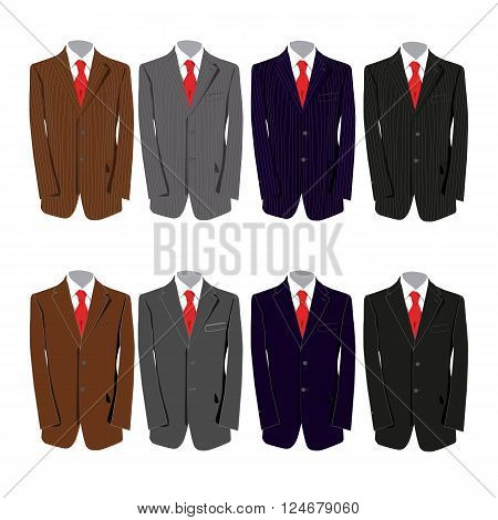 eight different colored suits for a business man