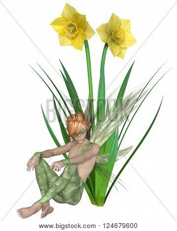 Fantasy illustration of a fairy boy sitting with yellow spring daffodils, 3d digitally rendered illustration