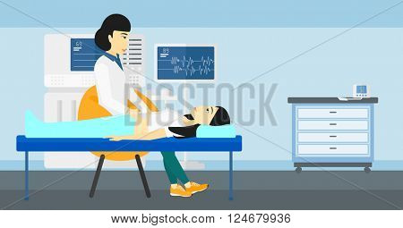 Patient under ultrasound examination.