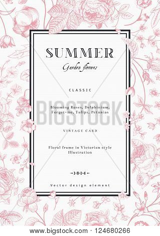Summer vertical vector vintage elegant card with black garden flowers. Pink roses forget-me delphinium on white background with black frame. Design template.