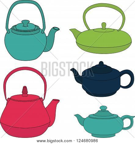 Vector collection of color silhouette teapot icons