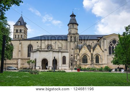 BORDEAUX FRANCE - MAY 06 2015: Saint-Seurin Basilica is part of the World Heritage Sites of the Routes of Santiago de Compostela in France Bordeaux