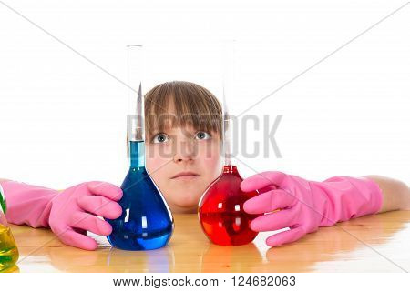 girl wearing pink gloves with flasks  isolated on a white background