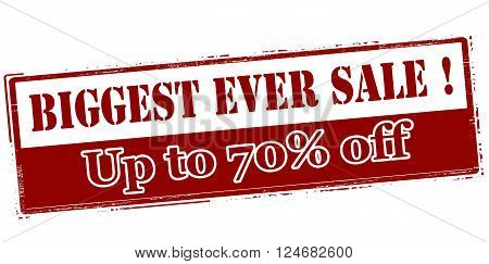 Rubber stamp with text biggest ever sale up to seventy percent off inside vector illustration`
