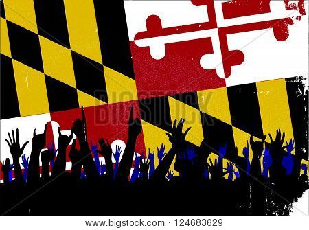 Audience happy reaction with Maryland State flag background