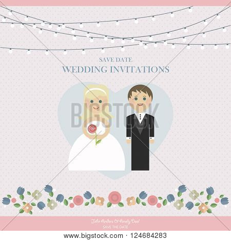 Wedding Card Invitation with newlyweds in Vector flat style