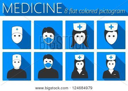 Doctor And Nurses Flat Icons Set