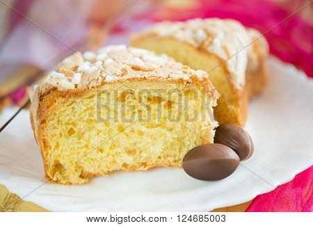 sweet easter cake called colomba made with almond and sugar
