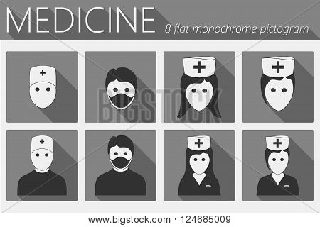 Doctor And Nurses Flat Icons Set