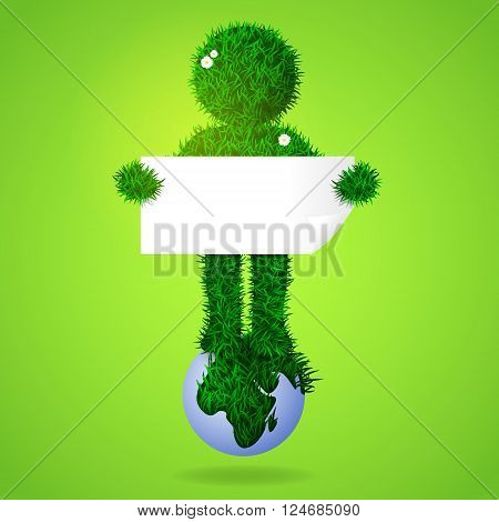 Illustration of green grass man standing on earth and holding empty bland board.