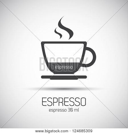 Cup of espresso simple vector icons, minimalistic illustration
