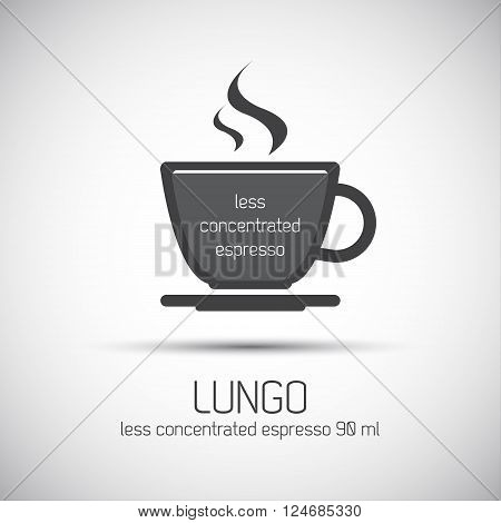 Cup of espresso lungo simple vector icon