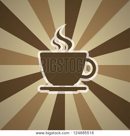 Cup of coffee on background with three shades of brown vector illustration