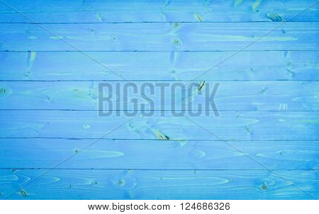 Aquamarine wooden planks background - Light blue wood pine panel - Knotty planks sky color - Smooth painted wood board surface - Old style backdrop with original colors - Focus from middle