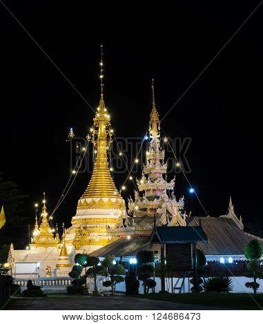 Night view of Wat Chong Klang Burmese style temple in Mae Hong Son, Thailand