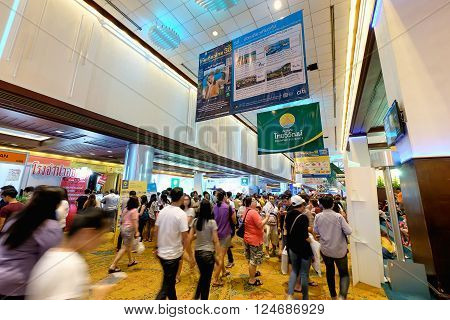 Bangkok Thailand - March 6 2016: Thai Teaw Thai exhibitors at Queen Sirikit National Convention Centre in Bangkok Thailand.