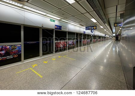 Bangkok Thailand - March 21 2016: Night on an empty metro (MRT) station in Bangkok Thailand. The MRT serves more than 240000 passengers each day.
