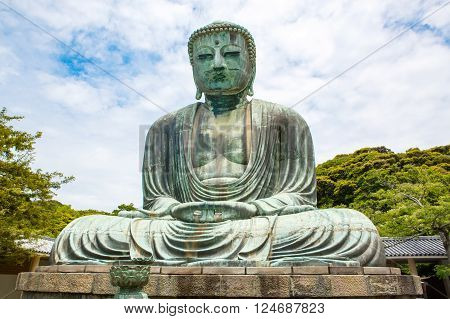 The Great Buddha of Kamakura in Kotokuin Temple, Kanagawa, Japan. With a height of 13 meters, it is the second largest bronze Buddha statue in Japan.