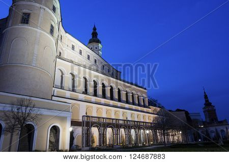 Mikulov Castle with Church of St. Wenceslas in the background in Czech Republic in the evening
