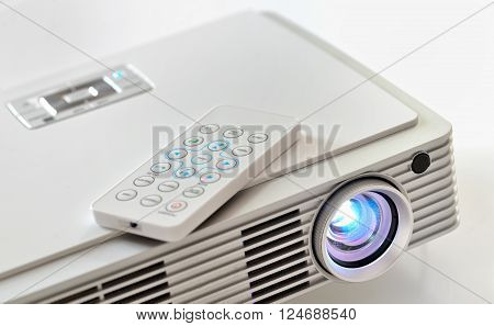 Mini home cinema LED projector, close up