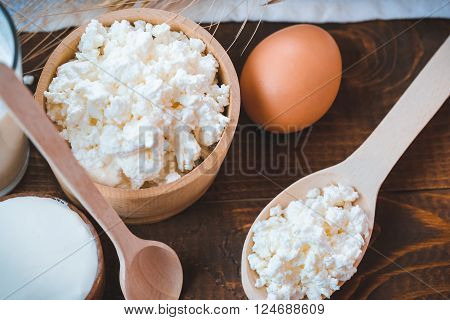 Natural Homemade Products: Milk, Cheese, Sour Cream And Eggs On Old Wooden Background With Free Spac