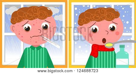 Sad ill boy with red pustules in winter. Vector illustration about childhood.